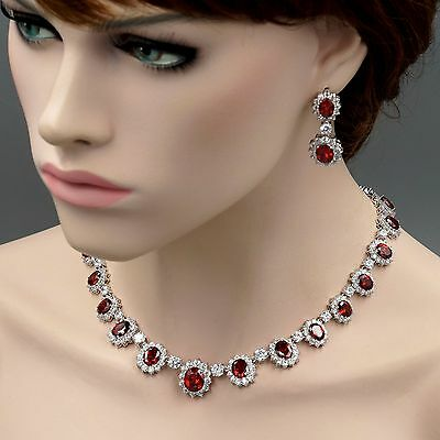 White Gold Plated Red Cubic Zirconia Necklace Earrings Wedding Jewelry Set 08139