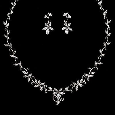 White Gold Plated Zirconia CZ Necklace Earrings Bridal Wedding Jewelry Set 00886