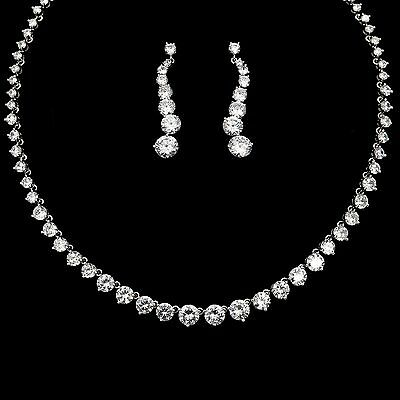 White Gold Plated Zirconia CZ Necklace Earrings Bridal Wedding Jewelry Set 00917