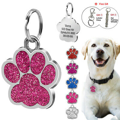 Bling Glitter Paw Print Personalized Dog Tags Pet Puppy Cat ID Collar Tags 38mm