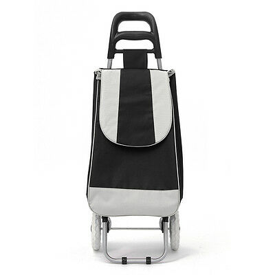 Wheeled Shopping Trolley Bag On Wheels Push Tote Oxford Foldable Grocery Luggage