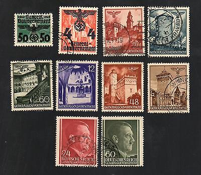 WWII Germany Occupied Poland (1940 - 1944) - Lot of 10 Different Stamps - #7