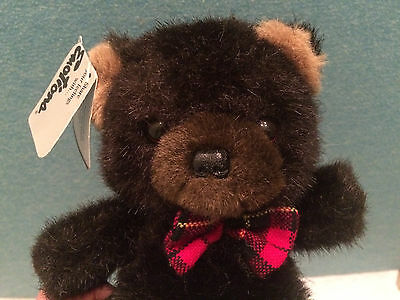 Vintage NWT 1984 Mattel Emotions Dark Brown Teddy Bear w/Bow Tie Plush Toy 8""