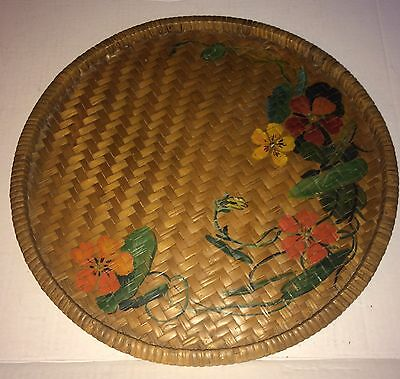 """Vintage Wicker Tray Hand Painted Large 16"""" Round Flat Wicker Basket"""