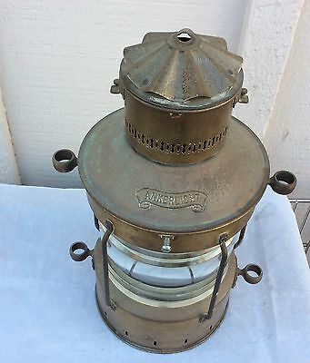 "Rare Vintage 16"" ANKERLIGHT Copper Nautical Ships Lantern w/Glass Globe Hanging"