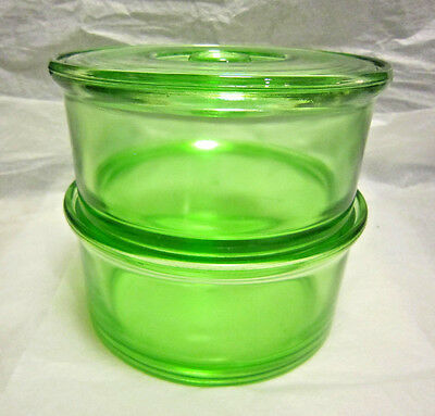 Set of Hazel Atlas Green Depression Round Refrigerator Dishes(2) w/Lid