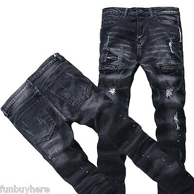 Mens Ripped Biker Jeans Slim Fit Motorcycle Jeans Distressed Denim Jeans Pants