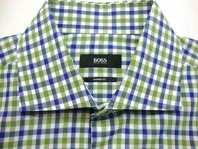 HUGO BOSS SHARP FIT Gingham Check Woven Cotton Long Sleeve Shirt 16 1/2 - 34/35