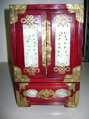 Rare Antique Chinese Red Lacquer Gilded Jewelry Cabinet / Box Brass hardware