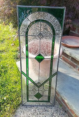 Beautiful Long Custom Emerald Green Stained Glass Window Panel Etched Frosted