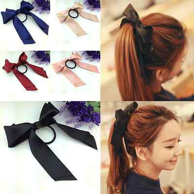 5Colors Lady Scrunchie Ponytail Holder Satin Ribbon Bow Hair Band Rope Superb