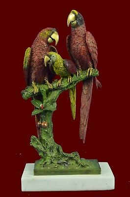 Handcrafted Brazilian Parrot Family on White Marble Base Bronze Sculpture Statue