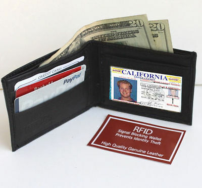 RFID Blocking Security Men's Bifold Card  Id Credit 100% Leather Wallet Back