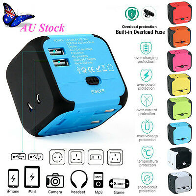 Universal World Travel Adapter Dual 2 USB Plug Charger AC Power US/EU/UK/AU