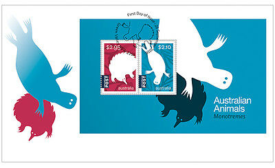 2016 Australian Animals Monotremes - First Day Cover (Minisheet)