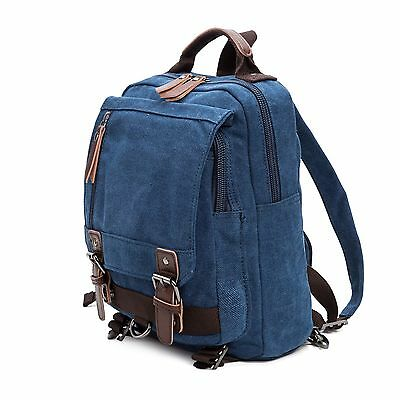 Canvas Messenger Bag LaptopBag Shoulder Backpack Travel Hiking Backpack Blue