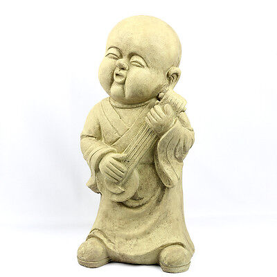 Young Monk Buddha Decoration Statue in String Musical Pose2, Ochre Tone, 18 Inch