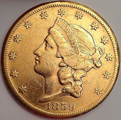 1859-S $20 Gold Liberty Head ~ Total Survival Estimate Of Only 1,771 ~ Very Rare