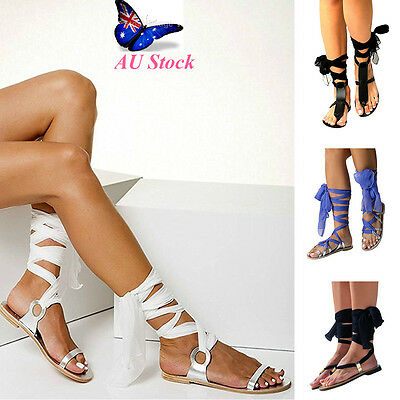 AU Women's Lace Up Flat Ankle Tie Wrap Sandals Summer Beach Dance Strappy Shoes