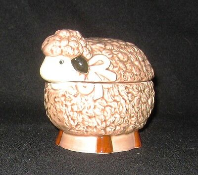 OTAGIRI Japan SHEEP LAMB SUGAR BOWL brown with lid