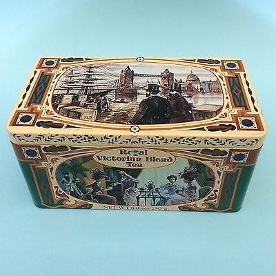 TEA TIN RETRO 80s ROYAL VICTORIAN BLEND London England 250gm Scenic 1800s