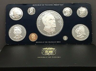 1975 Panama Proof Set 9 coins with box and COA