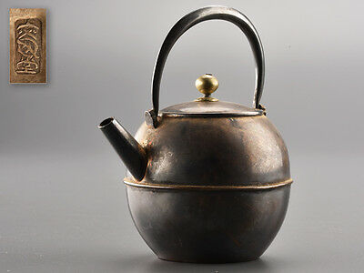 Japanese SENCHA Green Tea Ware Silver Teapot with Straight Spout: BD565