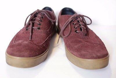 Cole Haan Men's Suede Oxford Shoes Size 12 Maroon/Wine Perforated Lace up