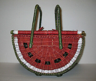 Vintage  Watermelon  Slice  Wicker  Double  Sided  Sewing / Picnic  Basket - Vgc