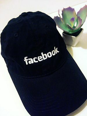 Authentic Facebook Hat Navy Blue White Embroidered Baseball Cap Adjustable