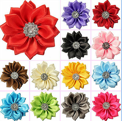 10Pcs Crafts with Diamond Satin Sewing Ribbon Sunflower Embroidery Decoration