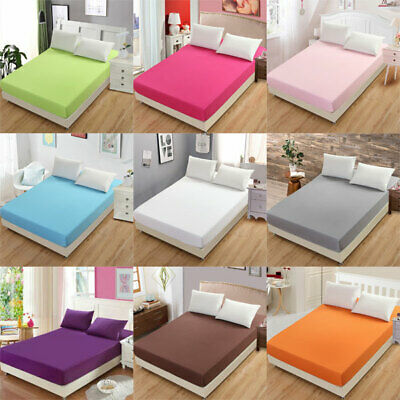 Cotton Flat Fitted Sheet Bed Cover Comfort Bedspread Mattress Slip Bed Sheets