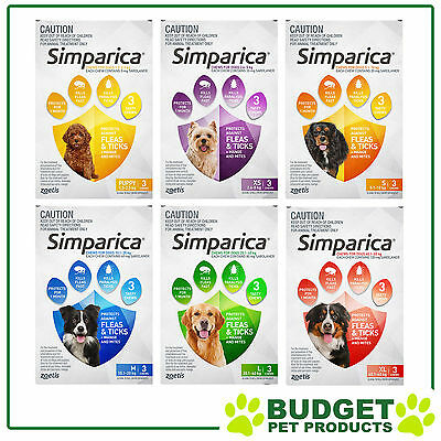Simparica For Dogs Flea and Tick Treatment 3 Chews All Sizes