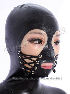 100% Latex Rubber Gummi 0.45mm Hood Mask Catsuit Suit Lace up Handmade Thick Hot