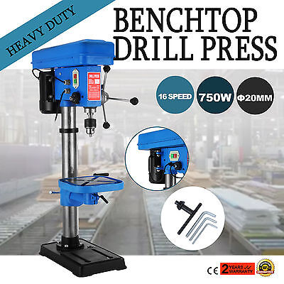 750W 20mm Bench Drill Press Drilling Machine φ325mm Spin Pillar Drilling 16Speed
