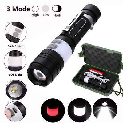 12000lm XML T6 LED Zoom Flashlight 18650 Torch USB Rechargeable Lamp Light Set