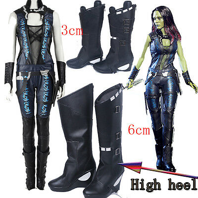 Hot Guardians of the Galaxy 2 Gamora cosplay Costume Full Suit Cos Shoes Boots
