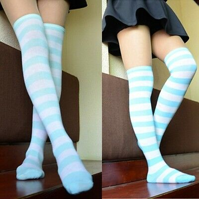 New Lady Women Striped Print Thigh High Stocking Casual Over the Knee Long Socks