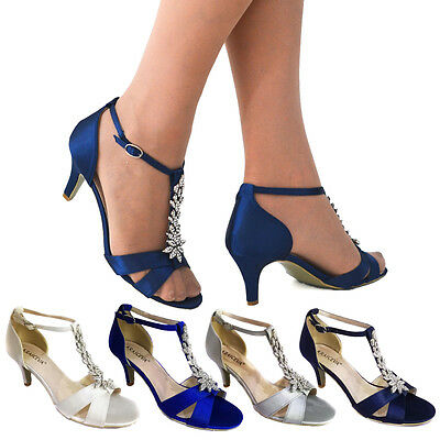 Womens ladies mid low heel strappy t bar party wedding prom sandals shoes uk