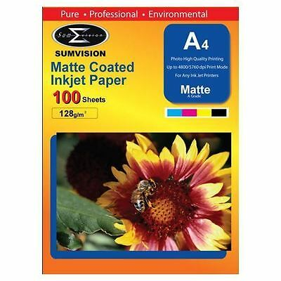 Sumvision 128GSM Inkjet Printer Photo Matte Coated A4 Paper 100 Sheets Pack