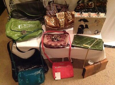 Large Lot Of 13 New and Used, Designer and Unbranded Handbags Purses Wallets Etc