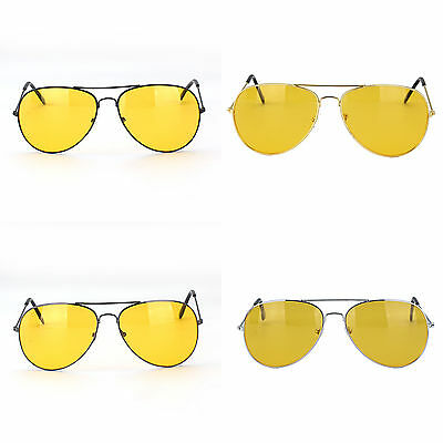 Classic Pilot Aviator Frame Yellow lens Night Driving Sunglasses Glasses