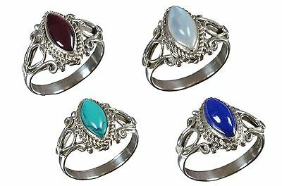 925 Solid Sterling Silver Ring Natural Multi Gemstones 5 to 6.5 US Size JR34