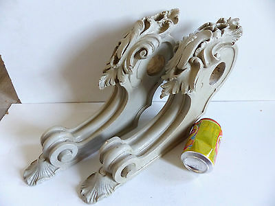 SUPERB RARE PAIR of LARGE ANTIQUE 19thC CARVED PAINTED CURTAIN ROD HOLDERS 1880s