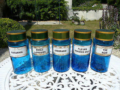 SUPERB SET of 5 FRENCH COBALT BLUE & PORCELAIN PHARMACY APOTECARY JARS 19th. C.