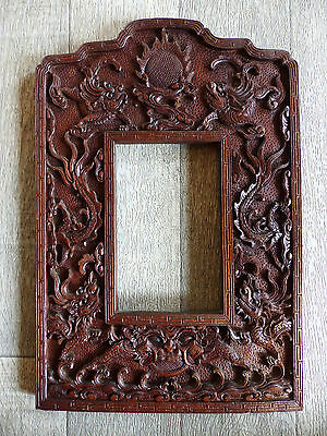 """SUPERB LARGE ANTIQUE CHINESE WOOD CARVED PICTURE FRAME w. DRAGONS . 13 """". 33 cm"""