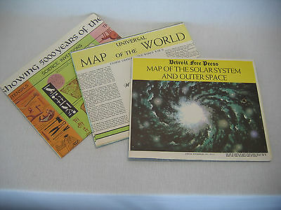 Vintage Educational 3 Giant Wall Maps 3 ft. by 4 ft. Mankind World Solar System