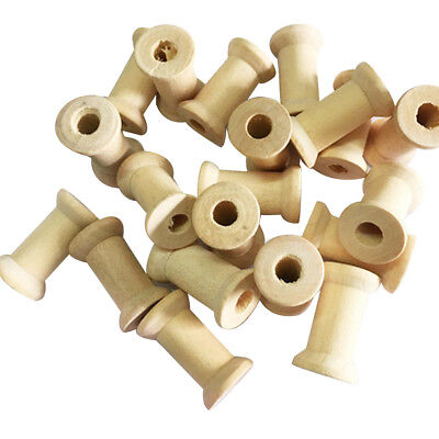 20Pcs 27x16mm Wooden Empty Spools Bobbins for Wire Thread Sewing Craft Floss