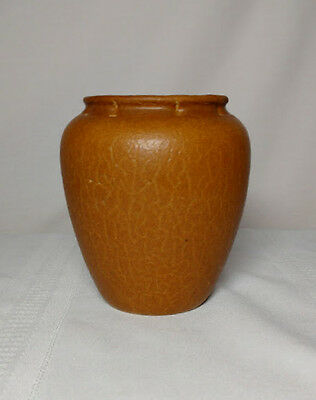 Grueby Pottery, Tapered Swollen Vase, Ochre Curdled, Crackled Glaze, Excellent~~