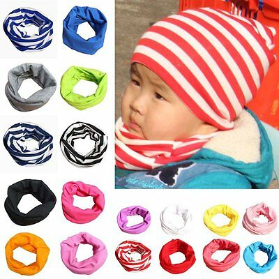 UK 18Colors Baby Kid Boys Girls Warm Scarf Cotton Neck Shawl Neckerchief Scarves